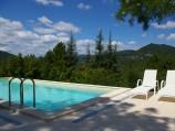Het zwembad met uitzicht op de Mont Aigoual